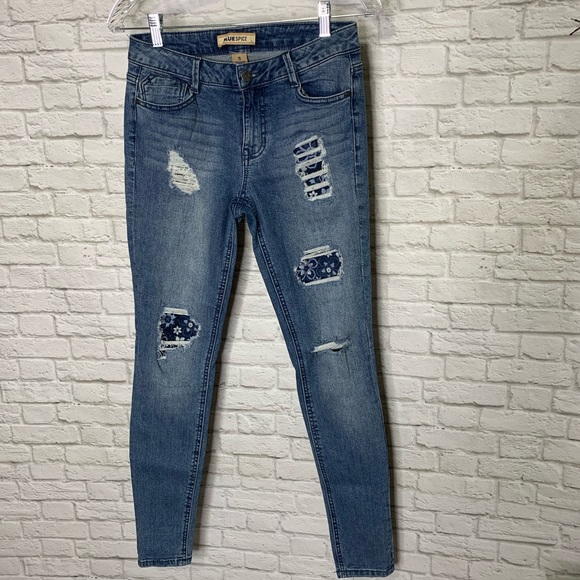 Blue Spice Denim - Blue Spice Destroyed Denim Skinny Jeans Size 5 Jrs